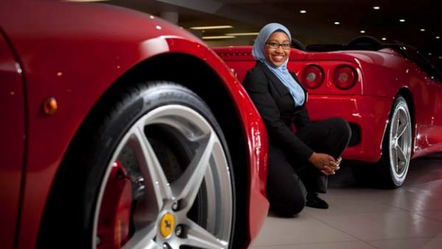 "Brisbane university student Yassmin Abdel-Magied, 19, has a passion for fast cars, especially Ferraris: ""I just became ..."