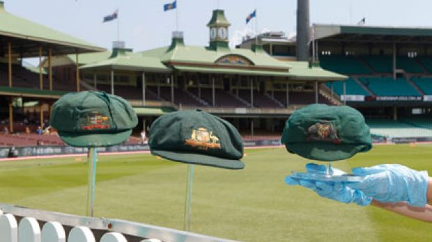 Hat-trick ... three of Australia's most famous baggy greens.