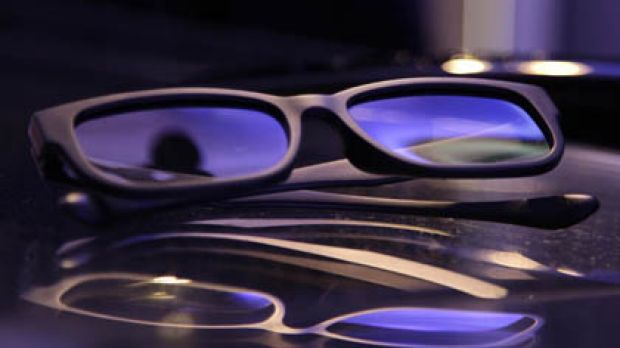A pair of 3D HDTV glasses that will accompany LG 3D purchases.