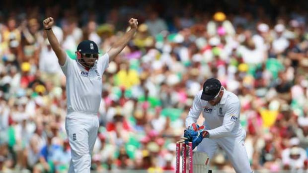 Matt Prior runs out Shane Watson after a calamitous mix-up with Phillip Hughes.