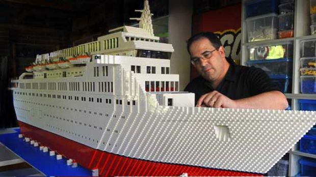 Ryan McNaught with his three-metre-long model of the Love Boat, from the 1970s TV series, which he plans to take to the ...