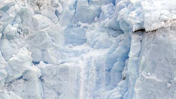 Pieces of ice fall from the Perito Moreno glacier near the city of El Calafate, in the Patagonian province of Santa Cruz.