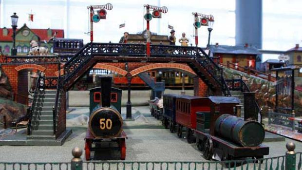 Part of the Jerni Collection of antique toy trains and stations.