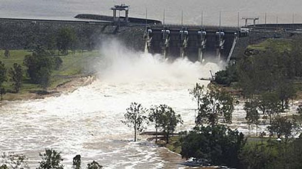 Millions of litres of water are released from Wivenhoe Dam.