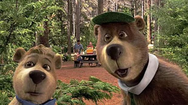 You lookin' at us?: Boo Boo (Justin Timberlake, left) and Yogi Bear (Dan Aykroyd) check out the 3D in their fun new ...