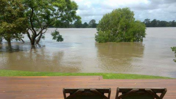 A view of the floods ... the Clarence River at flood levels of about 7.6 metres this afternoon.