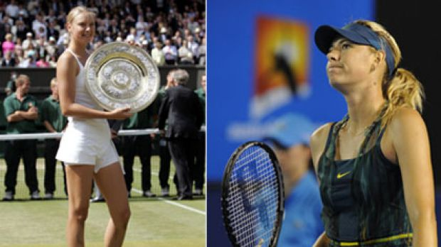 Maria Sharapova winning Wimbledon at age 17 and, right, being bundled out of last year's Australian Open.