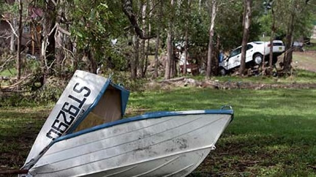 It once floated, but the terrifying flash flood in Murphy's Creek in the Lockyer Valley made cars and boats moveable trash.