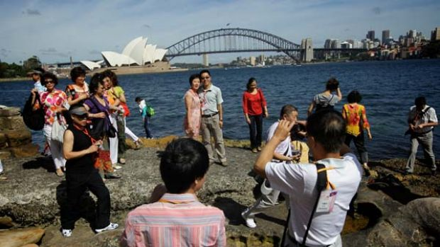 Check it out ... some of the 8000-plus Amway sales staff who will walk across the Harbour Bridge as part of their ...