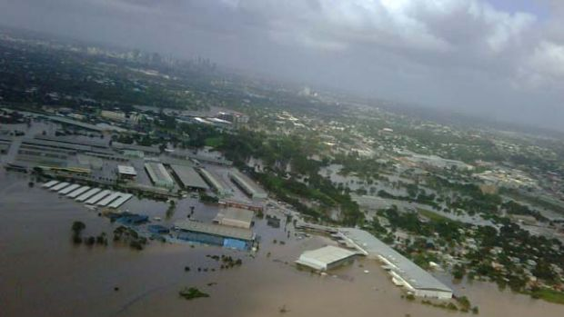 An aerial image taken by Queensland Premier Anna Bligh during surveillance of the damage shows the flooded Rocklea ...