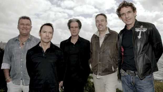 Steve Prestwich, second right, has died after surgery to remove a brain tumour. Here he is pictured with his Cold Chisel ...