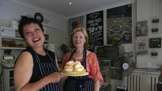 Let them eat gluten-free cake ... the owners of Healthy Feast bakery in Leichhardt, Silvia Philips, left, and Kim ...