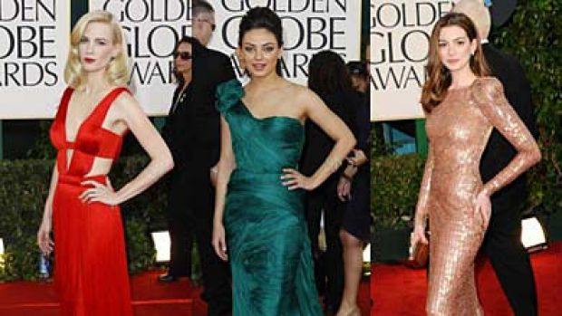 Walking the walk ... January Jones, Mila Kunis and Anne Hathaway shine at the Golden Globe Awards at the Beverley Hilton ...