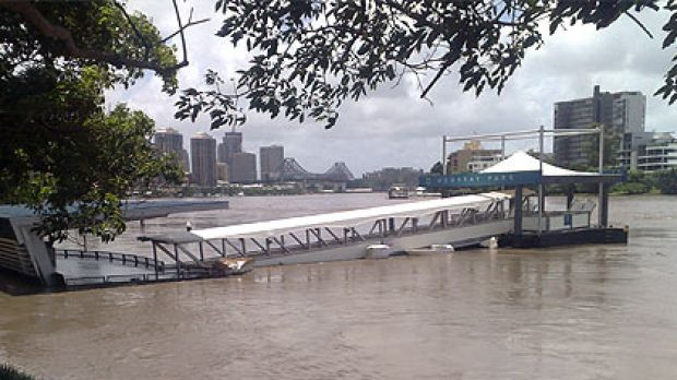 The flooded Mowbray Park CityCat terminal, pictured as the Brisbane River level rose on January 12, escaped major damage.