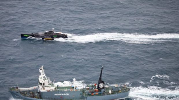 Sea Shepherd's Gojira pursues Japanese Antarctic whale research vessel Yushin Maru No. 2 in Antarctic waters earlier ...