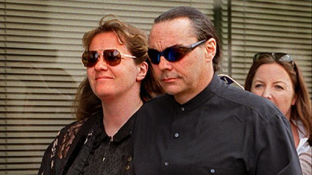 Gibb and Parker leave a Melbourne court in 1999 after they were fined for receiving stolen goods.