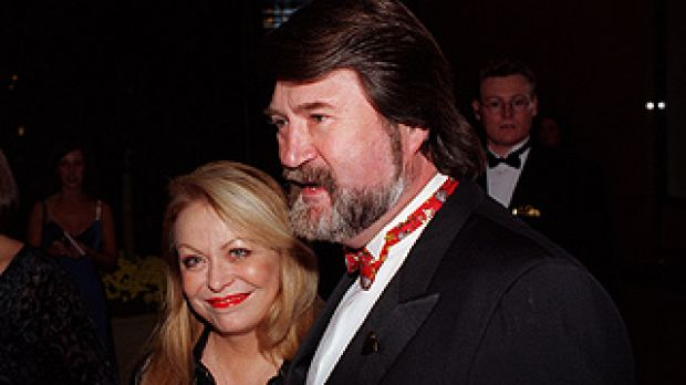 Big leap ... Jacki Weaver and Derryn Hinch together at the 1997 Logie Awards.