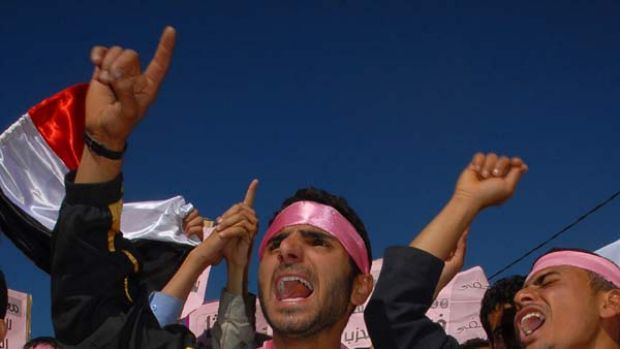 Pink revolution ... Yemeni protesters say they have adopted the colour pink to show they do not want violence.