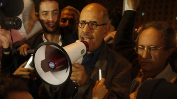 Egyptian Nobel Peace laureate and democracy advocate Mohamed ElBaradei addresses the crowd at Tahrir Square in Cairo on ...