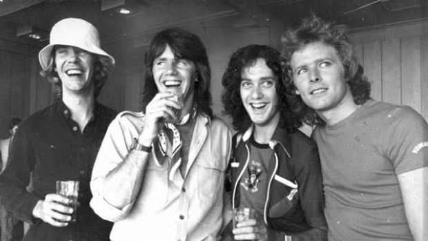 Rockers ...  (main, from left) Harvey James, Daryl Braithwaite, Tony Mitchell and Garth Porter.
