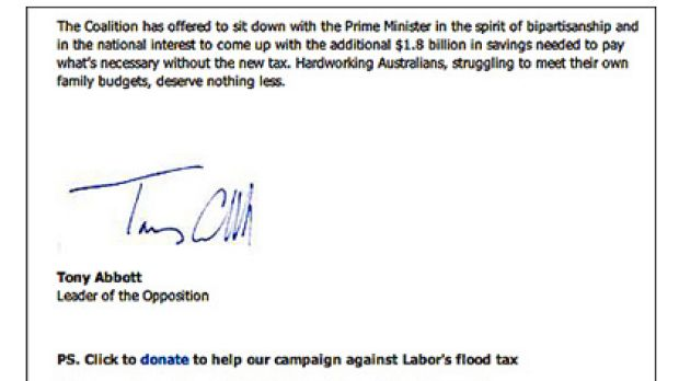 Part of an email Opposition Leader Tony Abbott sent to supporters pleading for donations.