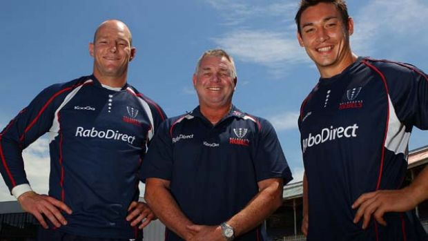 Newly appointed captain Stirling Mortlock (L), coach Rod Macqueen and vice-captain Gareth Delve.