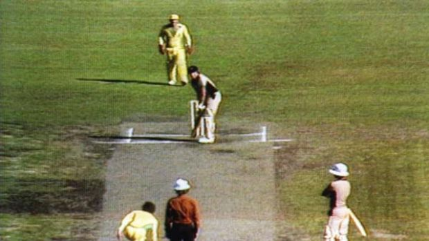 Dark day ... Trevor Chappell bowls the infamous underarm delivery  at the MCG in 1981.