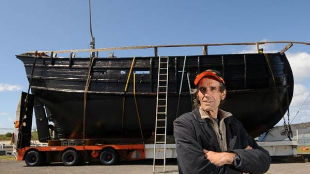 Ready for launch: Graeme Wylie with his replica of a 15th-century Portuguese caravel.