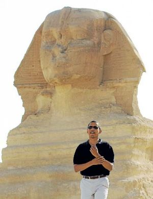 Barack Obama takes a tour of the Great Pyramids of Giza in 2009.