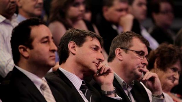 Facing the perils of not looking after its base  ... the Treasurer, Eric Roozendaal (second from left), listened as the ...