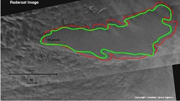 A radar image of Lake Vostok, deep under the Antarctic ice. The Russians' progress to drill down to the Lake have ...