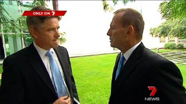 Channel Seven political editor Mark Riley (left) and Opposition Leader Tony Abbott during their controversial interview.