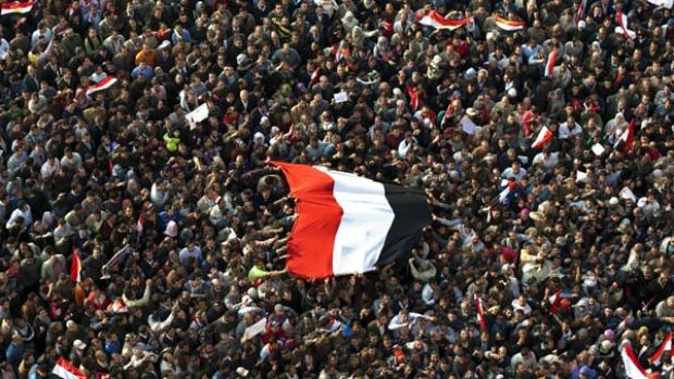 Hundreds of thousands of Egyptian anti-government protesters gather at Cairo's Tahrir Square.
