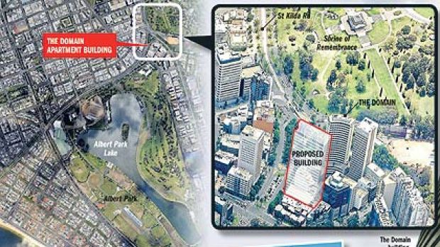 The location of the Domain apartment building is shown at the top left. If built, the proposed building (inset) would ...