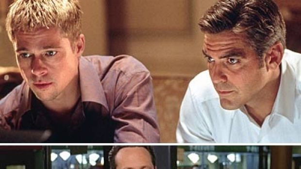 Hot and not ... Brad Pitt and George Clooney in Ocean's Eleven; bottom: Vince Vaughn and Kevin James in The Dilemma.