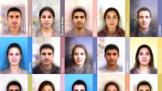 """Some of the """"average"""" faces from around the world."""