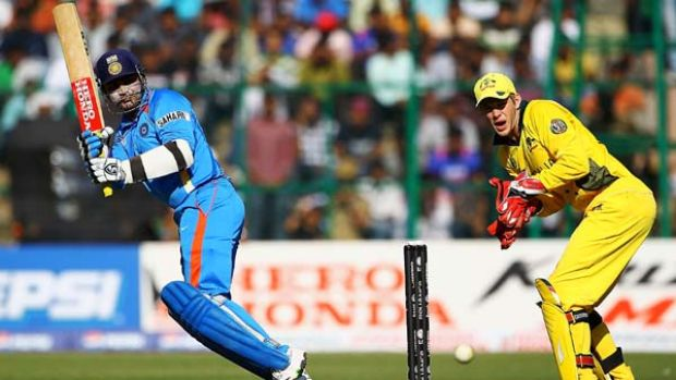 Virender Sehwag top scored for India.