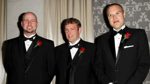 Rory McGregor, Neil Wilson and Alan Rogers at the Academy Of Motion Picture Arts And Sciences' Scientific & Technical Awards.