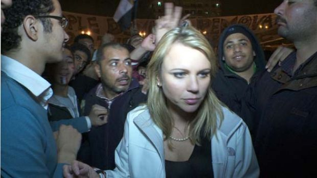 Before the attack ... Lara Logan in Tahrir Square.