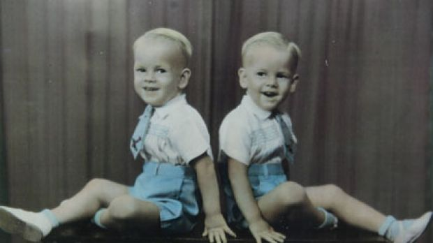 Leon with his twin brother, Noel.