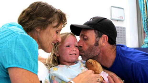 Power of prayer ... Peter and Sue Hill with their daughter Claire.