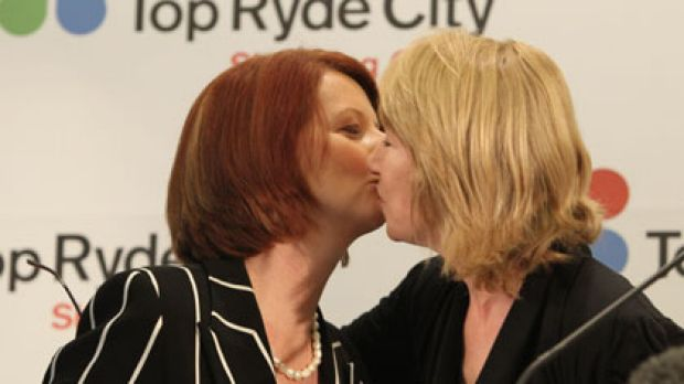 Maxine McKew with Julia Gillard at the centre.