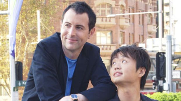 Seoul searching ... Adam Boland with partner Julian Wong in Kings Cross where they plan to open a Korean bathhouse