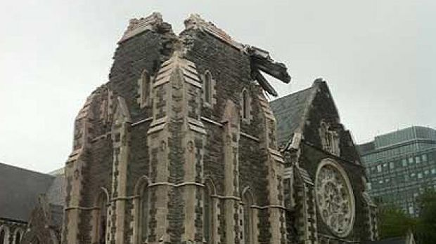 The cathedral crumbles in the Christchurch quake.