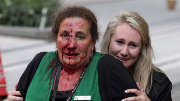 Bleeding, terrified ... women in the central Cashel Mall.