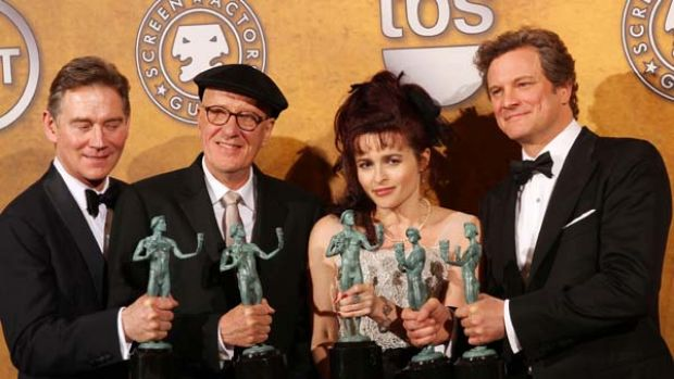 "The cast of ""The King's Speech"" poses with the award for Best Motion Picture Cast at the Screen Actors Guild Awards. ..."