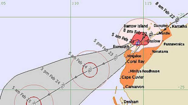 The latest graphic of cyclone Carlo's parth dcown the coast of WA.