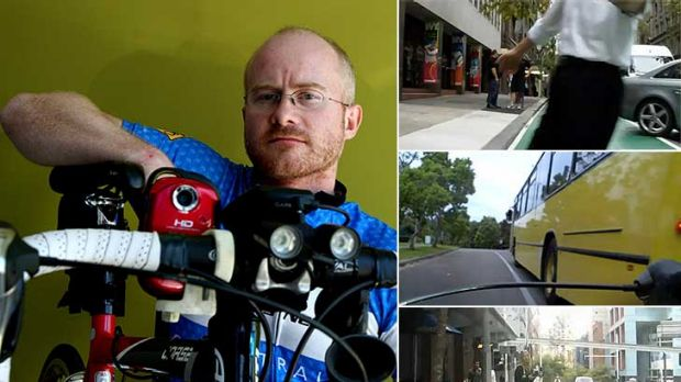 You're on bike-cam . . . Simon Hookham with the video camera mounted on his bicycle, and some of the footage he has ...