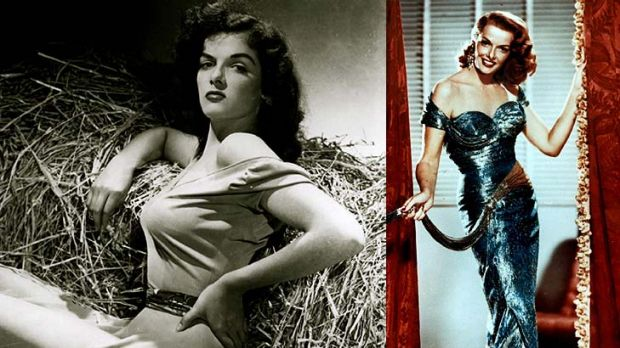 Jane Russell ... clockwise from top left, as she appeared in The Outlaw, Gentlemen Prefer Blondes, Paleface, and ...