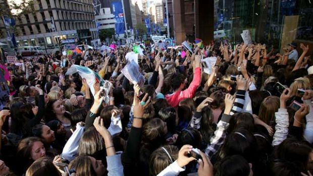 Justin Bieber's young fans pack into Martin Place during last year's Sunrise broadcast.